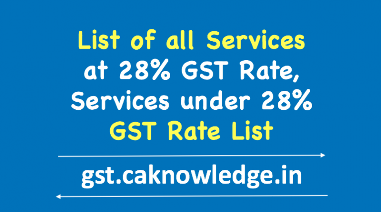 List of all Services at 28 GST Rate