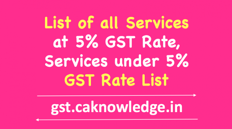 List of all Services at 5% GST Rate
