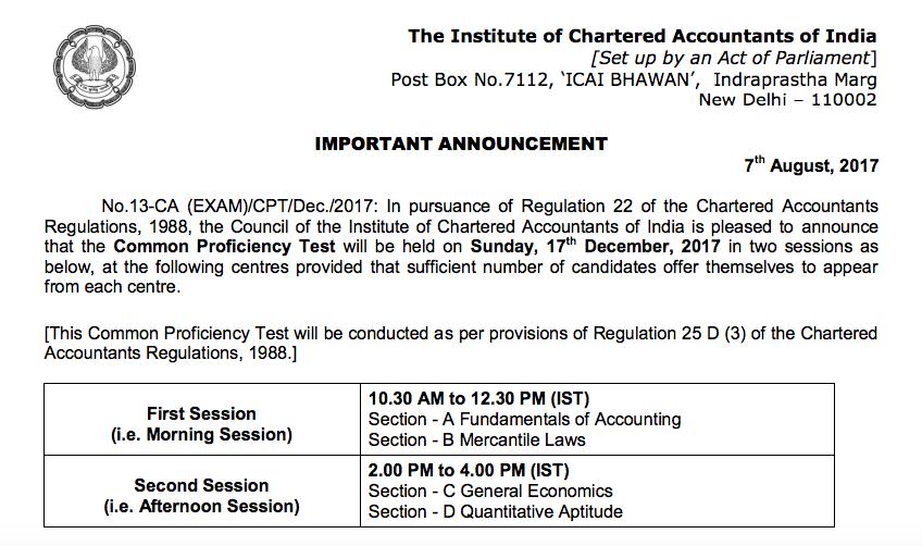CPT Exam Date Dec 2017