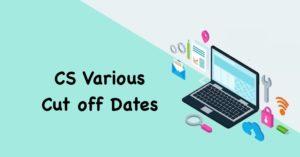 CS Course Cut off Dates
