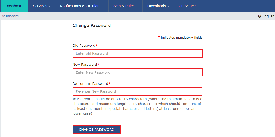 GST Change Password