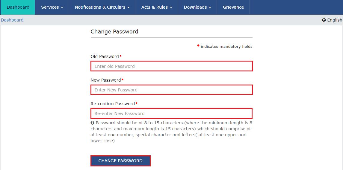 GST Change Password
