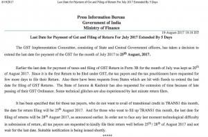 Last Date for GST Return form 3B Extended