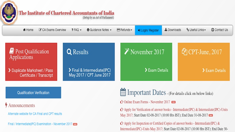 icai online exam form may 2018