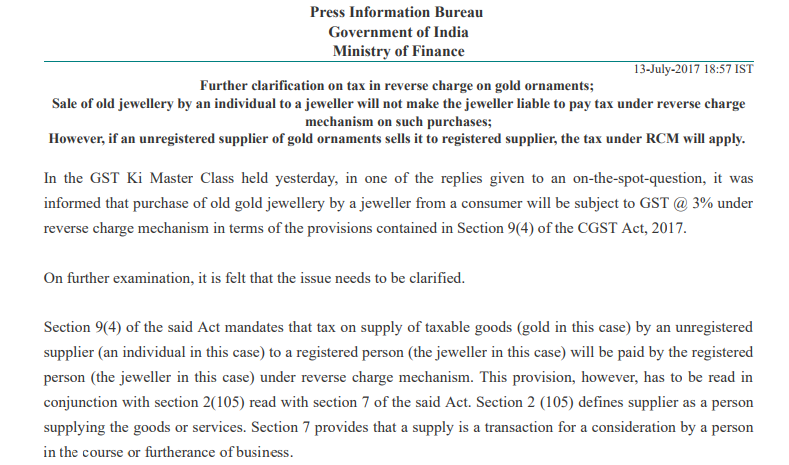 Notification for Reverse charge on gold ornaments