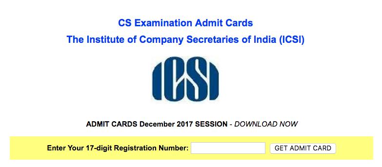 CS Admit Card Dec 2017