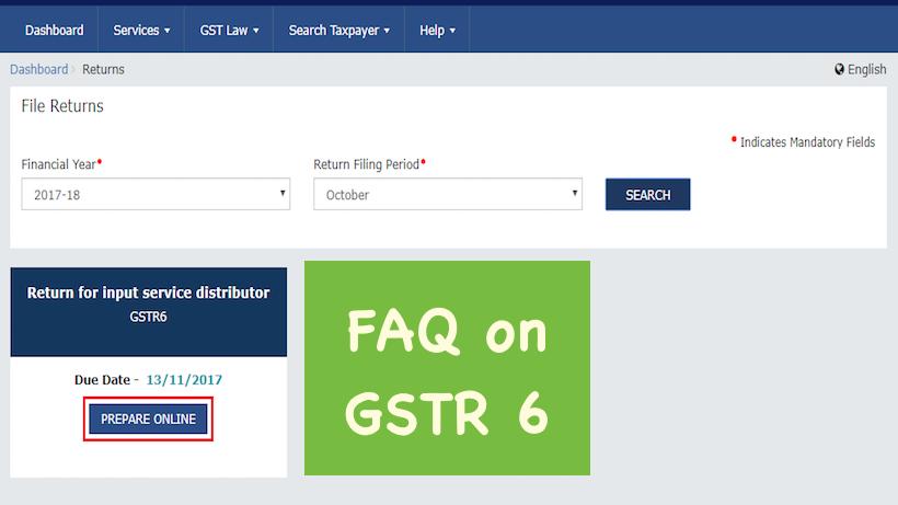 FAQ on GSTR 6