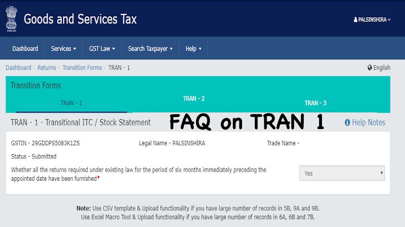 FAQ on TRAN 1