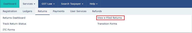 View e-filed Returns