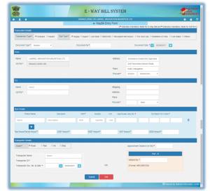 Generate new e-Way bill
