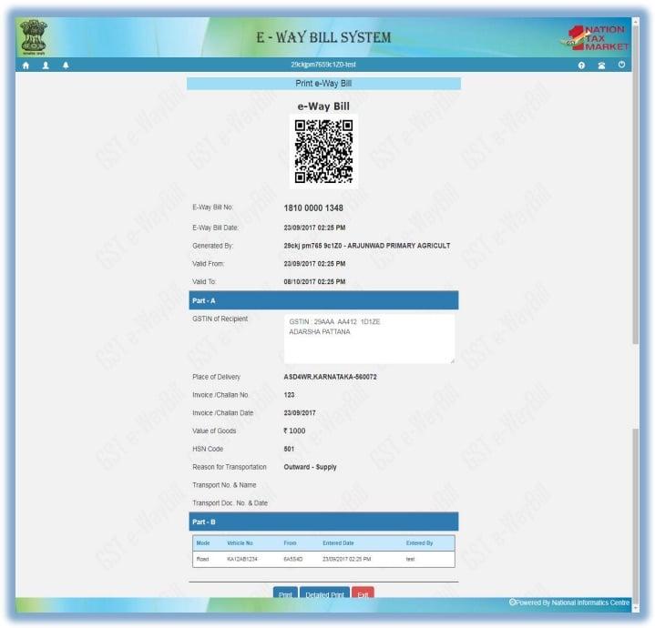 Printing EWB 2, Cancel E-way bill