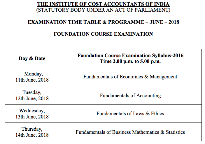 CMA Foundation Time Table June 2018