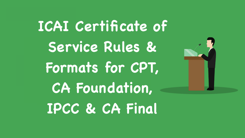 ICAI Certificate of Service Formats