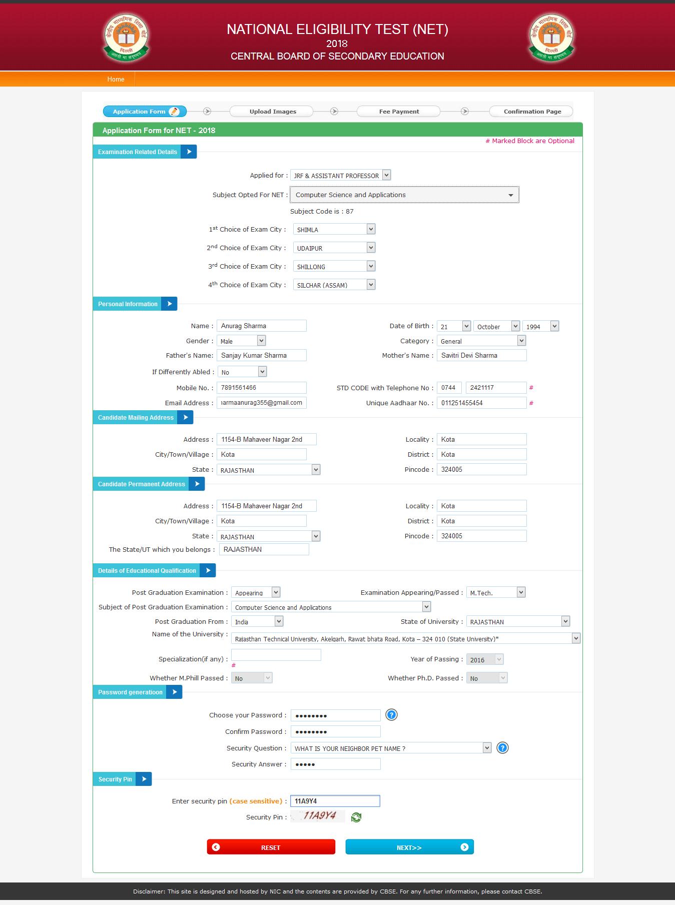ugc net application