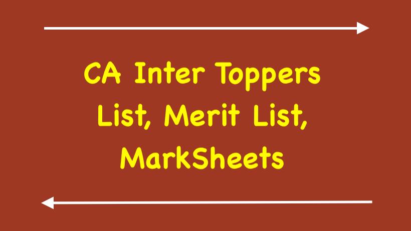 CA Inter Toppers List, Merit List
