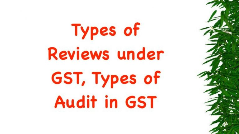 Types of Reviews under GST, Types of Audit in GST