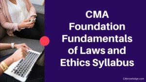 CMA Foundation Fundamentals of Laws