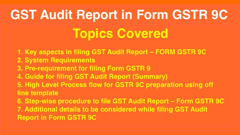 GST Audit Report in Form GSTR 9C