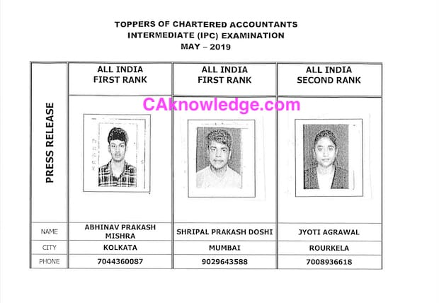 CA IPCC Toppers List May 2019