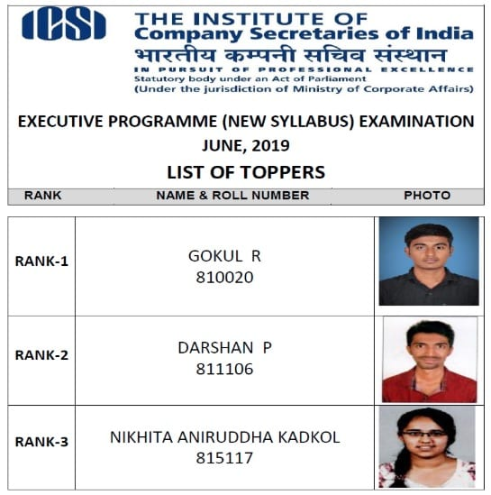 CS Executive Toppers list New