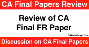 Review of CA Final FR Paper