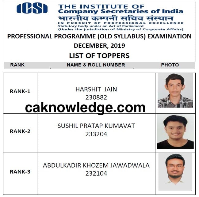 CS Professional Toppers Old Dec 2019