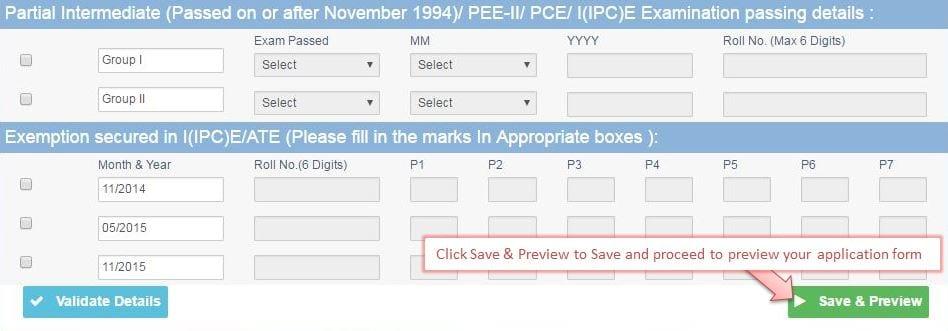 ICAI Exam Form Fill Details
