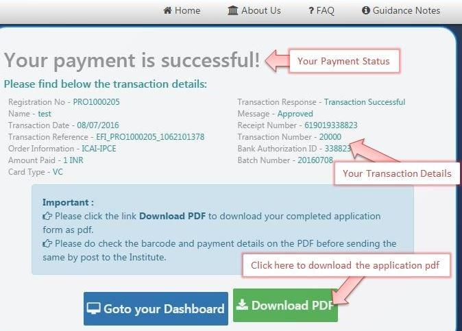 ICAI Exam Form Payment