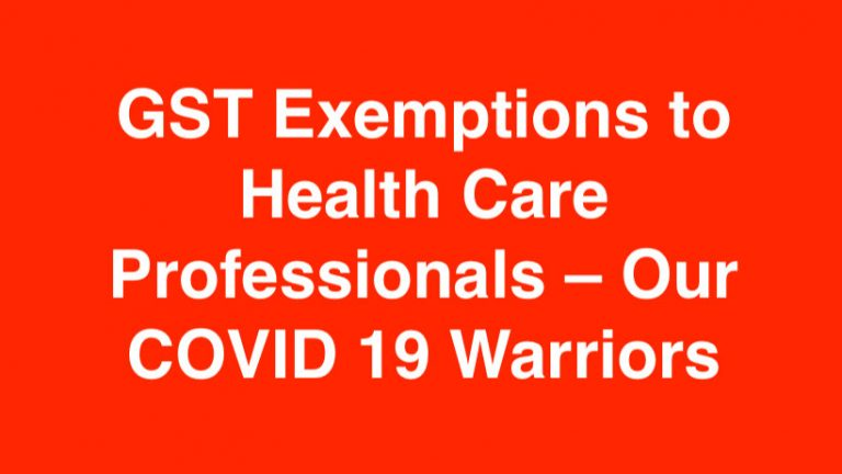 GST Exemptions to health care professionals