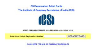 ICSI CS Admit Card Dec 2020