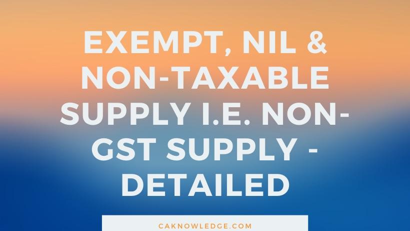 Non taxable supply