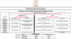 CMA Time Table July 2021