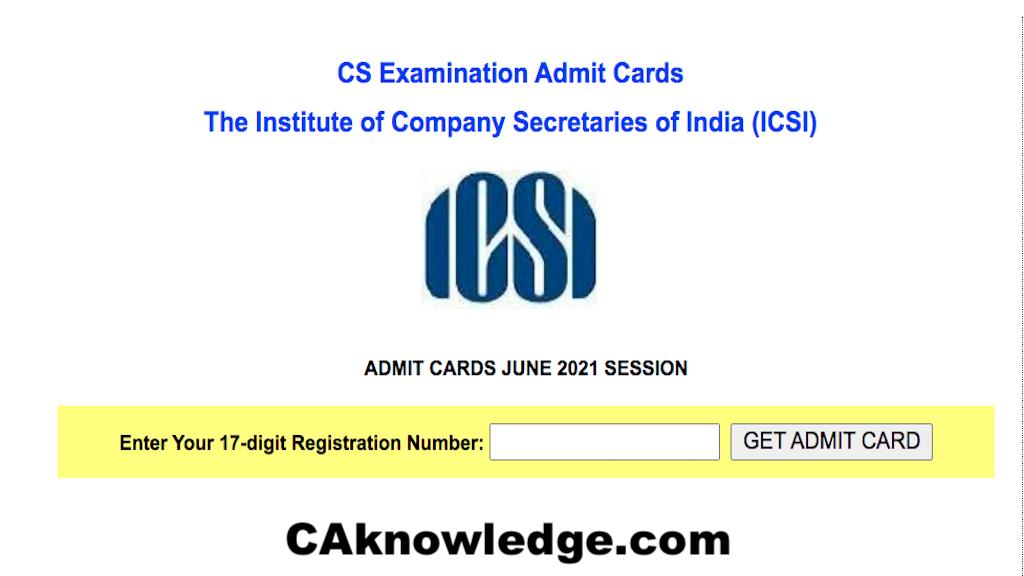 ICSI AdmitCard June 2021