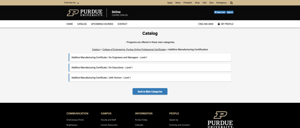Certificate Courses in Additive Manufacturing