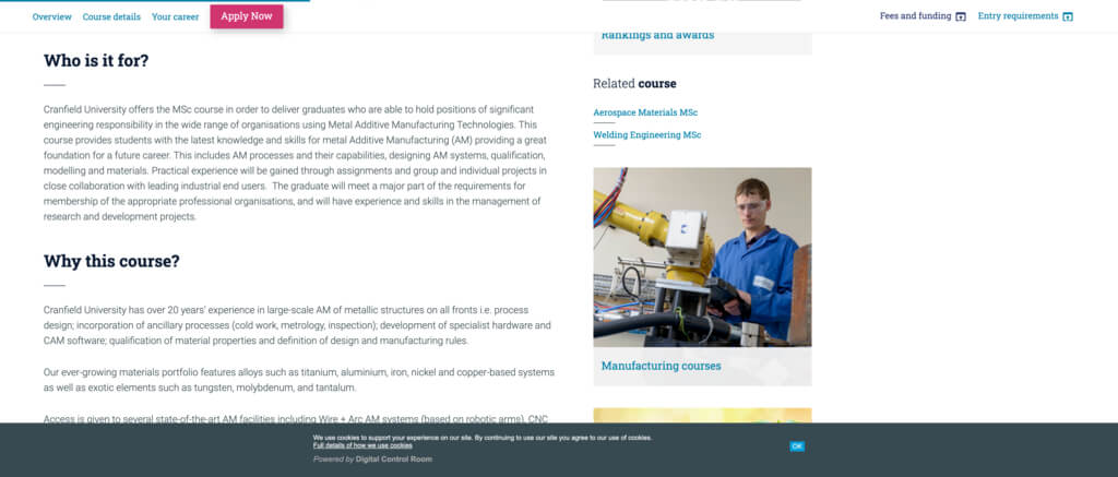 Masters Degree in Metal Additive Manufacturing