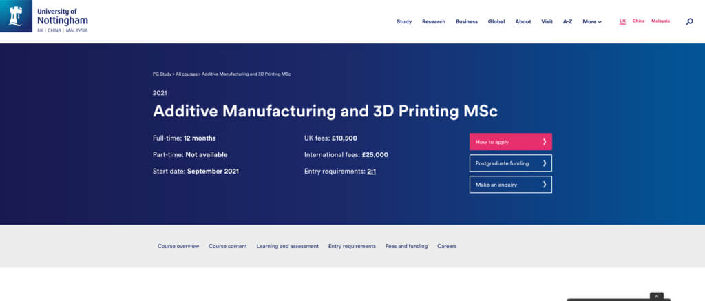 Master's degree in Additive Manufacturing and 3D printing