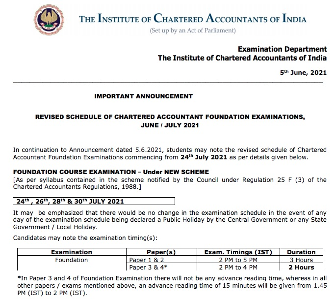 CA Foundation Time Table July 2021