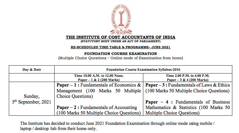 CMA Foundation Time Table Oct 2021