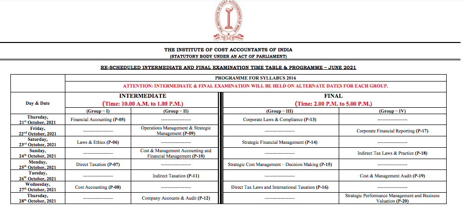 CMA Time Table October 2021