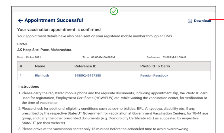Vaccine registration confirmation