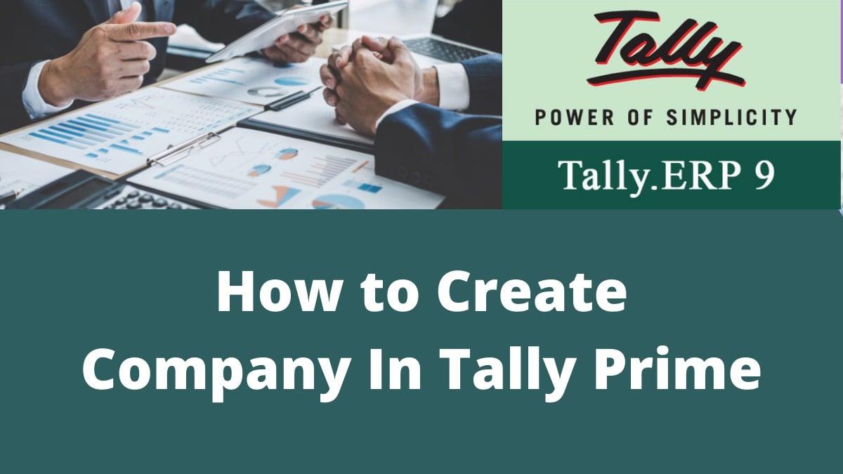 Create Company In Tally Prime