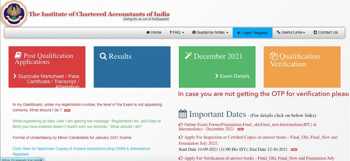 ICAI Exam Form Dec 2021