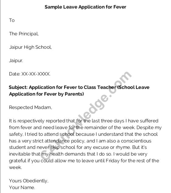 Leave Application format due to fever