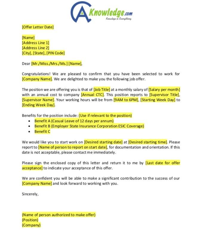 offer letter format image
