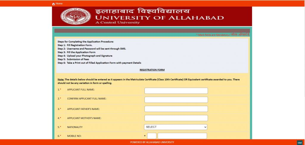 Allahabad-university-application