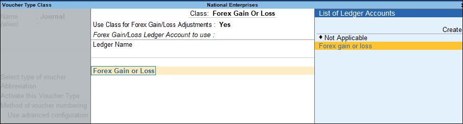 voucher class for forex gain loss tally